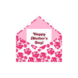 Happy Mother's Day greeting letter in the envelope. Pink flowers. Can be used as sticker design in scrapbooking stock illustration