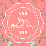 Happy mother's day hand drawn lettering congratulation card Stock Photos