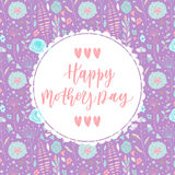 Happy mother's day hand drawn lettering congratulation card Stock Images