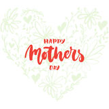 Happy Mother`s Day - hand drawn lettering phrase with flower heart isolated on the white background. Fun brush ink inscription for Royalty Free Stock Images