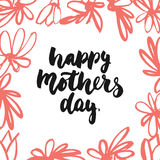 Happy Mother`s Day - hand drawn lettering phrase with red flower isolated on the white background. Fun brush ink inscription for p Royalty Free Stock Photography