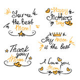 Happy Mother`s Day hand lettering stickers Stock Photos