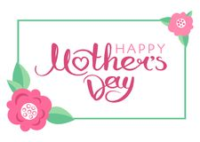 Happy Mother`s Day handwritten inscription. Happy Mother`s Day card with hand drawn lettering. Decorative poster with handwritten inscription. Vector graphics Royalty Free Stock Image