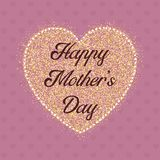 Happy Mother`s Day heart background. Happy Mother`s Day background with glitter style heart stock illustration
