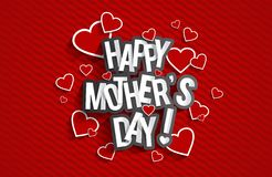 Happy Mother's Day. With Hearts vector illustration Stock Photo
