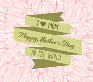 Happy mother's day with label and doodle flower Stock Photo