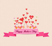 Happy mother's day with label and hearts Royalty Free Stock Photos