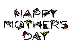 Happy Mother`s Day lettering with cute flowers on a white Royalty Free Stock Photos