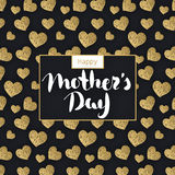 Happy Mother`s day. Lettering in frame. Spring holiday. Congratulatory background with hearts. It can be used for card, postcard, invitation, banner Stock Photo