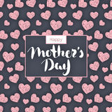 Happy Mother`s day. Lettering in frame. Spring holiday. Congratulatory background with hearts. It can be used for card, postcard, invitation, banner Stock Images
