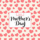 Happy Mother`s day. Lettering in frame. Spring holiday. Congratulatory background with hearts. It can be used for card, postcard, invitation, banner Stock Photos