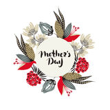 Happy Mother`s day. Lettering in frame. Spring holiday. Floral round frame. Hand drawn flowers around circle. Can be used for card, postcard, invitation Stock Photo
