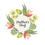 Happy Mother`s day. Lettering in frame. Spring holiday. Floral round frame. Hand drawn flowers around circle. Can be used for card, postcard, invitation Royalty Free Stock Photo
