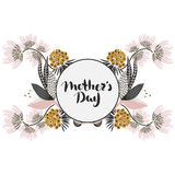 Happy Mother`s day. Lettering in frame. Spring holiday. Floral round frame. Hand drawn flowers around circle. Can be used for card, postcard, invitation Stock Image