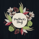 Happy Mother`s day. Lettering in frame. Spring holiday. Floral round frame. Hand drawn flowers around circle. Can be used for card, postcard, invitation Royalty Free Stock Images