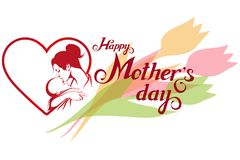 Happy Mother`s day Lettering. Silhouette of a mother and her child. Mother`s day greeting card. Maternal love for Her Baby Stock Photo