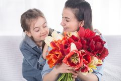 Happy mother`s Day. Little cute daughter with her mother royalty free stock images