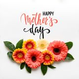 Happy Mother`s Day Living Coral Pantone Color Background. Coral flat lay greeting card with beautiful gerbera flowers. Happy Mother`s Day Living Coral Pantone stock photo