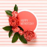 Happy Mother`s Day Living Coral Pantone Color Background. Coral flat lay greeting card with beautiful roses. Happy Mother`s Day Living Coral Pantone Color stock images