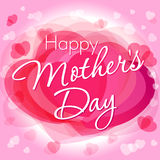 Happy mother's day love card. Happy mother's day typographical design with heart pink background Stock Photography
