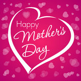 Happy mother's day love card. Happy mother's day typographical design with heart pink background Royalty Free Stock Images