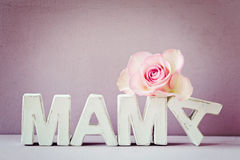 Happy Mother's Day!. MAMA greeting card, vintage style with rustic texture Royalty Free Stock Photo
