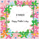 Happy mother`s day at 8 march card. With colorful flower in frame, wallpaper or background Stock Photography
