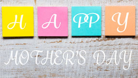 Happy Mother`s day message written on colorful sticky notes Royalty Free Stock Photos