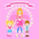 Happy mother`s day with mom and boy and girl, flower, heart, ribbon banner vector illustration