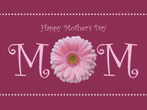 Happy Mother's day mom card with soft pink gerbera daisy and pearl background Stock Photography