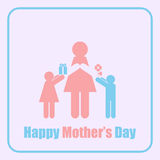 Happy Mother's Day Mom and Children Stick Figure Stock Image