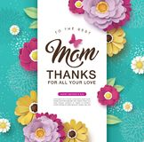 Happy Mother`s Day. Mother`s day greeting card design with beautiful blossom flowers stock illustration