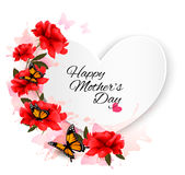 Happy Mother`s Day note with colorful flowers and butterfly. Royalty Free Stock Photography