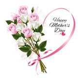 Happy Mother`s Day note with colorful roses and ribbon. Stock Photography