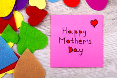 Happy Mother`s Day note. Stock Images
