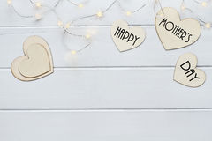 Happy Mother`s Day over Hearts with Fairy Lights Royalty Free Stock Photo