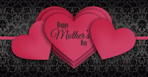 Happy Mother's day, overlapping series of red hearts Royalty Free Stock Photos