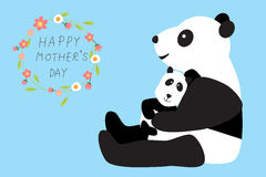Happy mother's day with panda bear hug thier kids or baby .illus Stock Photo