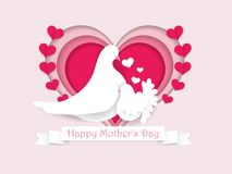 Happy Mother`s day paper cut greeting card. Beautiful design tem stock illustration