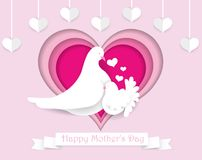 Happy Mother`s day paper cut greeting card. Beautiful design tem royalty free illustration