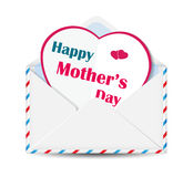 Happy Mother's Day paper heart in open envelope Stock Photo