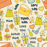 Happy Mothers Day pattern with various element. Royalty Free Stock Photo