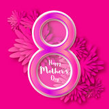 Happy Mother's Day. Pink Floral Greeting card. International Women's Day Royalty Free Stock Photo