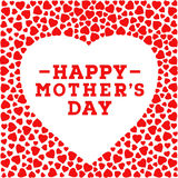 Happy Mother's day postcard. Border with red hearts  on white background. Greeting card design template. Royalty Free Stock Image