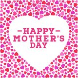 Happy Mother`s day postcard. Border with vivid hearts isolated on white background. Greeting card design template. Happy Mother`s day postcard. Border with Royalty Free Stock Photography
