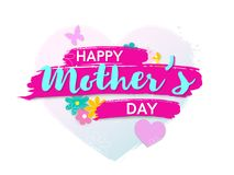 Happy mother s day poster or banner. Isolated on white background. Vector illusrtation Royalty Free Stock Images