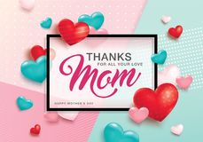 Happy Mother`s Day greeting design. Happy Mother`s Day poster design with 3D hearts and abstract background Royalty Free Stock Photos