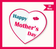 Happy Mother's Day poster. White paper heart Stock Photography
