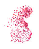 Happy Mother`s Day! Pregnant woman of rose petals royalty free illustration