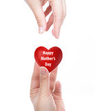 Happy mother's day  Red heart Stock Photography